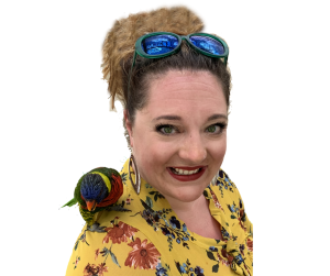 Michelle Cady Cook of Cleveland court reporting firm, Cady Reporting with a bird on her shoulder