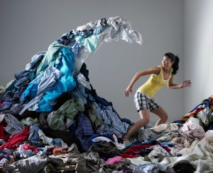 Court Reporter working from home with laundry chasing her