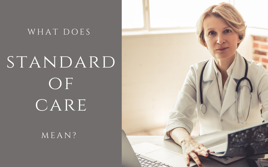 Image for Article by Cleveland Court Reporters, Cady Reporting shows a doctor looking at medical records for a deposition and the question/header asks What Does Standard of Care Mean?